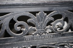 Lawang Sewu cast iron stairs with name of the iron works at Den Haag