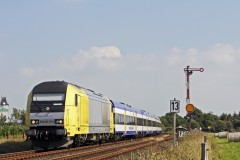 Siemens Dispolok ER20-011 operated by NOB pulling a Sylt bound train passing Risum-Lindholm on 17 July 2014